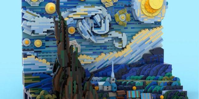Starry Night Vincent Van Gogh dalam Lego 1552 Balok